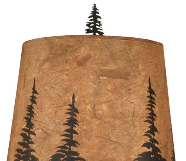 Country Squire Pine Tree Table Lamp Shade Close-up