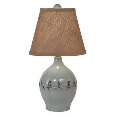 Distressed Atlantic Grey Birds on Branch Accent Lamp