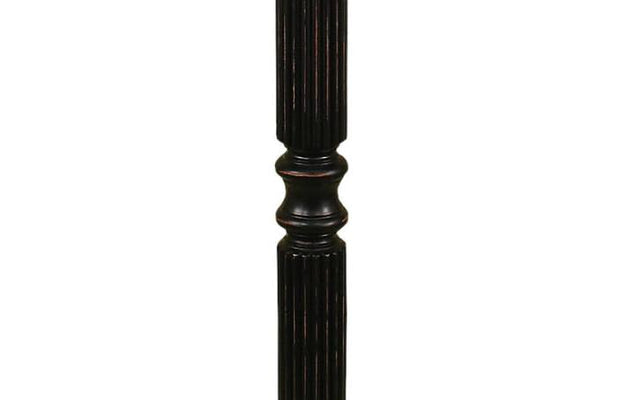Black Ribbed Distressed Floor Lamp Base Close-up