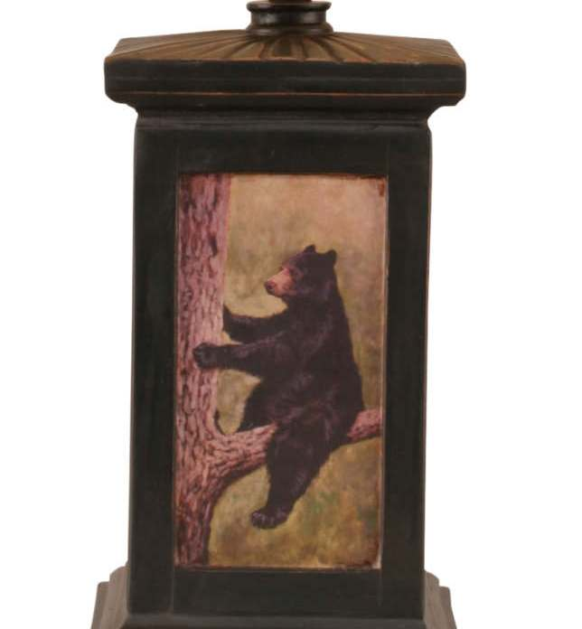 Distressed Black Square Bear in Tree Scene Table Lamp Base Close-up
