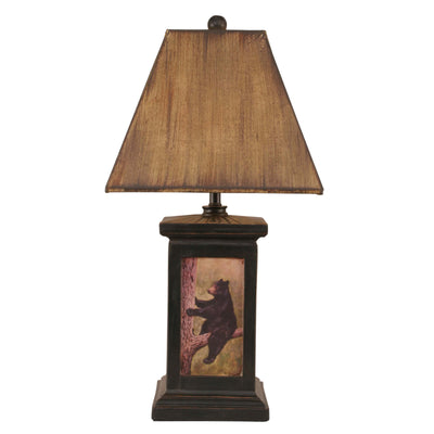 Distressed Black Square Bear in Tree Scene Table Lamp