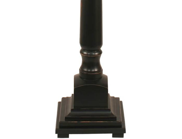 Square Candlestick Black Distressed Floor Lamp Base Close-up