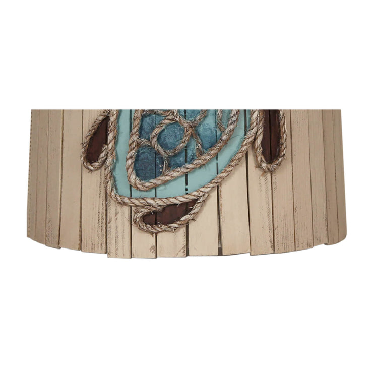 Distressed Cottage Turtle Wood Panel Anchor Lamp Shade Close-up