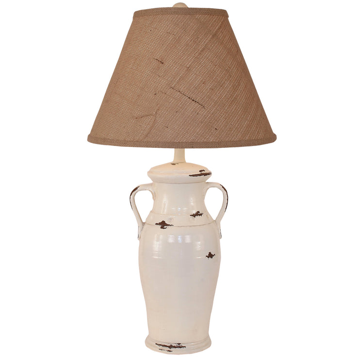 2 Handle Vase Distressed Off-White Table Lamp