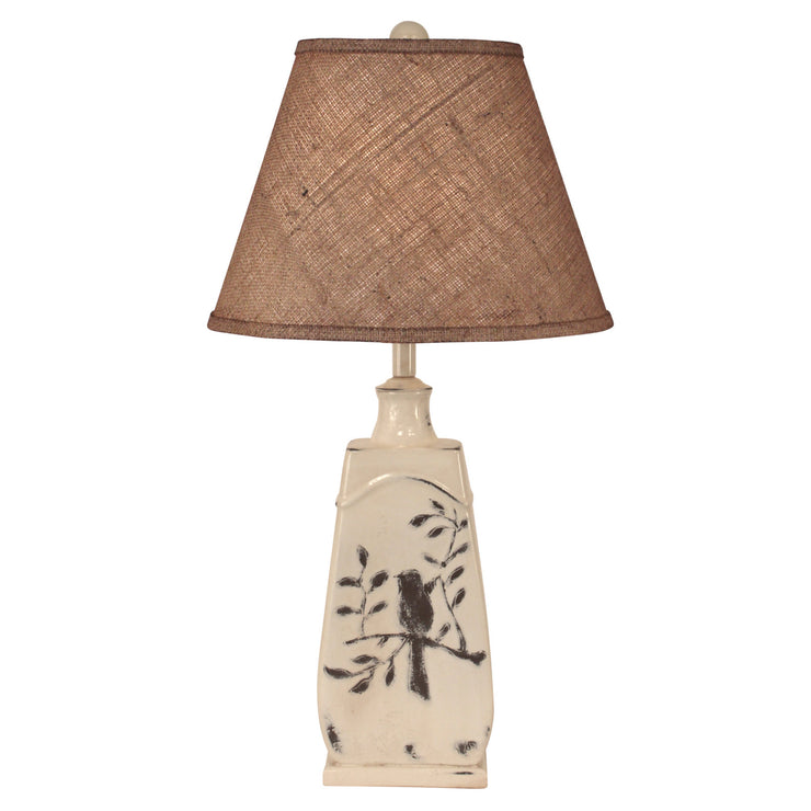 Distressed Nude Bird on Branch Tapered Table Lamp