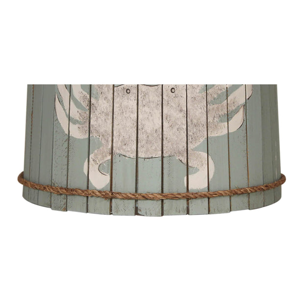 Distressed Atlantic Grey Crab Wood Panel Lamp Shade Close-up