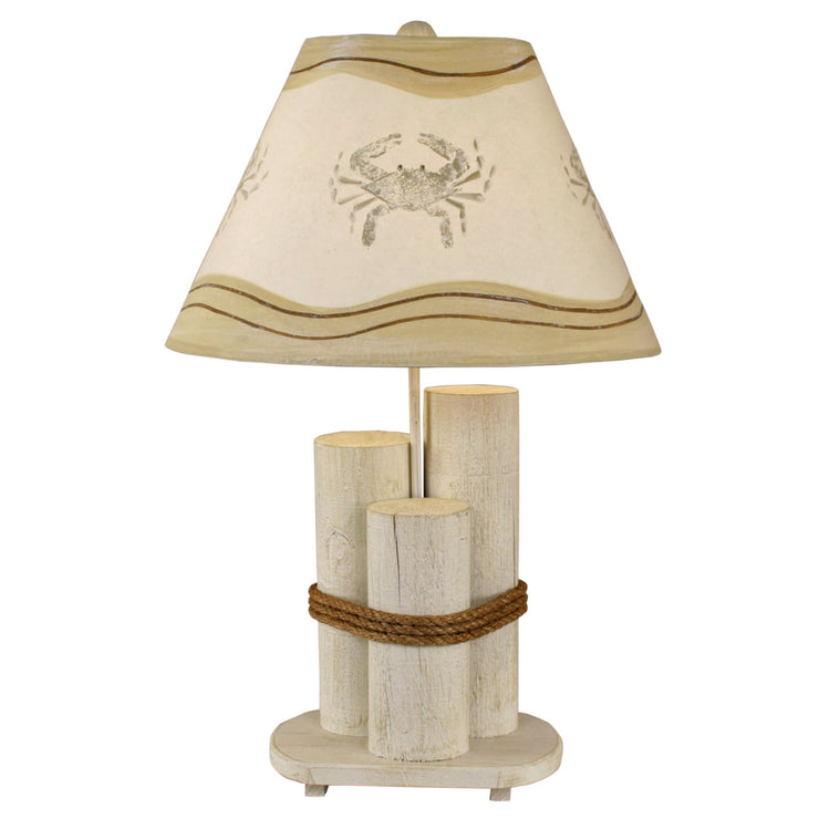 Dock Pilings Table Lamp with Crab Shade