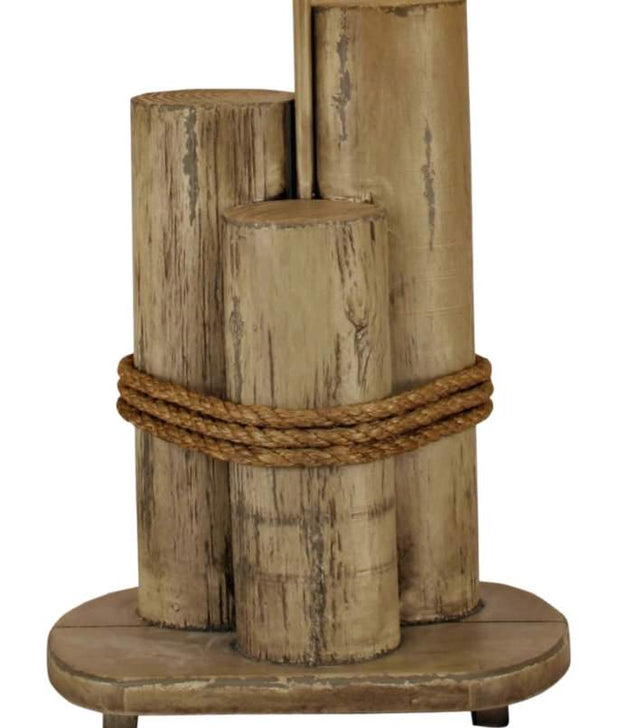 Dock Pilings Table Lamp with Pelican Shade Base Close-up