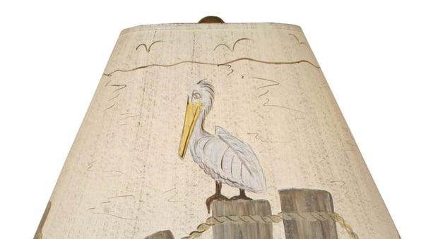 Dock Pilings Table Lamp with Pelican Shade Close-up