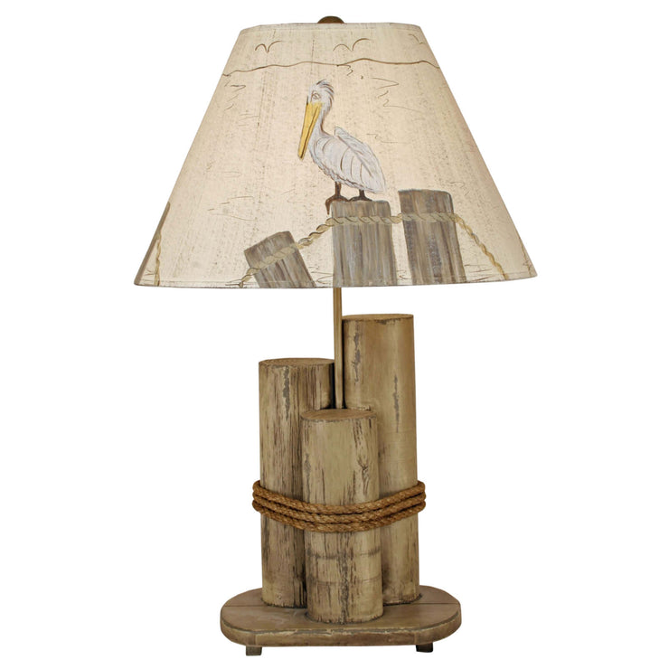 Dock Pilings Table Lamp with Pelican Shade