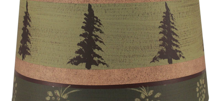 Pine Tree Band Drum Lamp Shade - Green Close-up