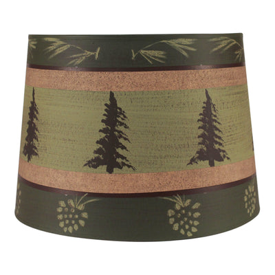 Pine Tree Band Drum Lamp Shade - Green