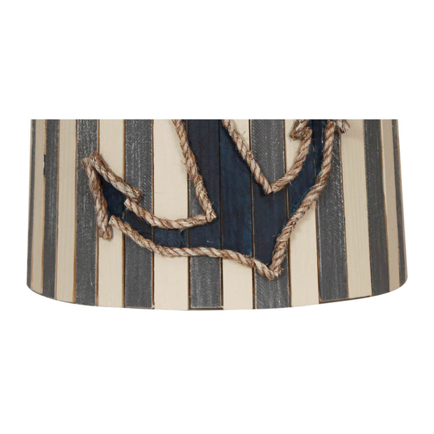 Anchor Striped Wood Panel Lamp Shade Close-up