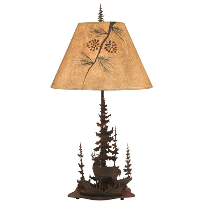 Feather Tree Deer Table Lamp