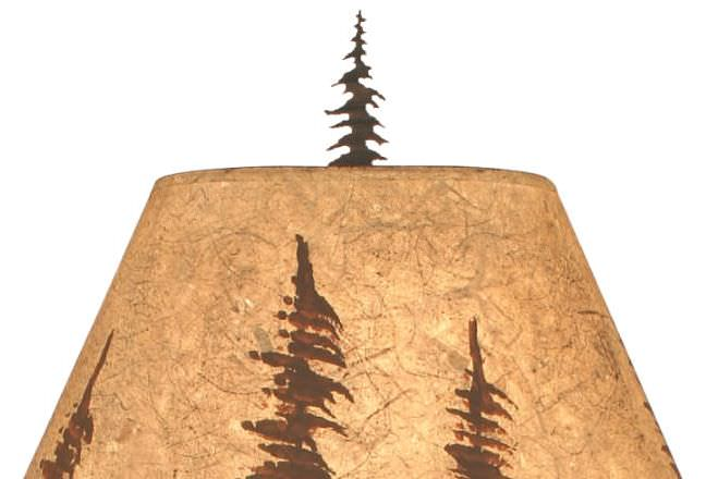 Feather Tree Elk Table Lamp Shade Close-up