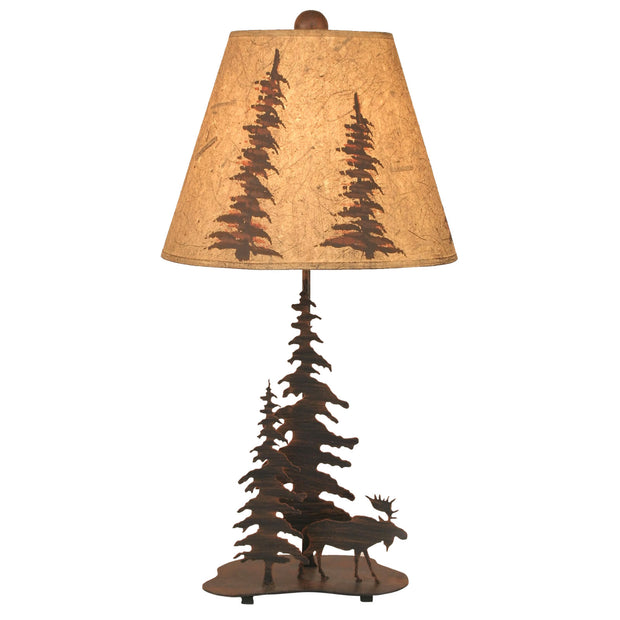 Iron Feather Tree Moose Accent Lamp