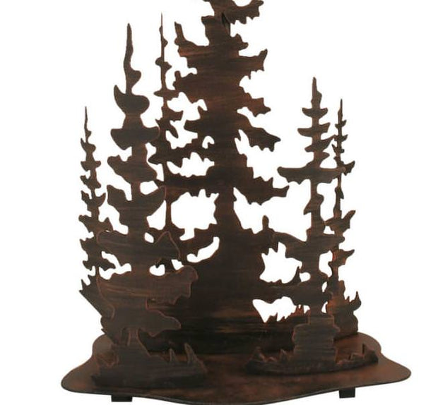 Feather Tree Scene Table Lamp Base Close-up