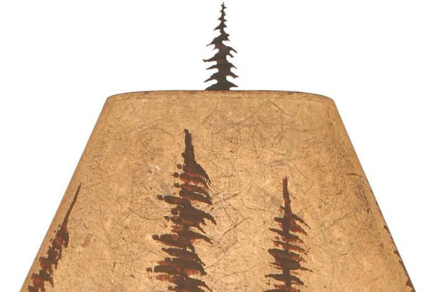 Feather Tree Scene Table Lamp Shade Close-up