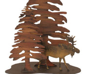 Pine and Moose Table Lamp Base Close-up