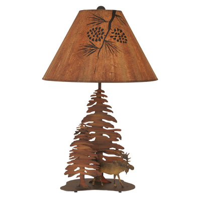 Pine and Moose Table Lamp