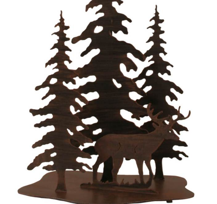 Pine Trees and Deer Table Lamp Base Close-up