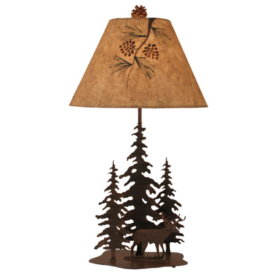 Pine Trees and Deer Table Lamp