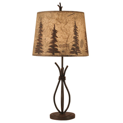 Iron Stack Accent Lamp w/Feather Tree Shade