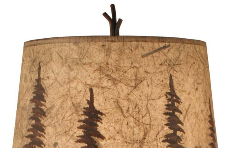 Iron Stack Accent Lamp w/Feather Tree Shade Close-up