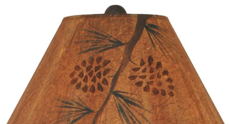 Triple Pine Tree Table Lamp Shade Close-up