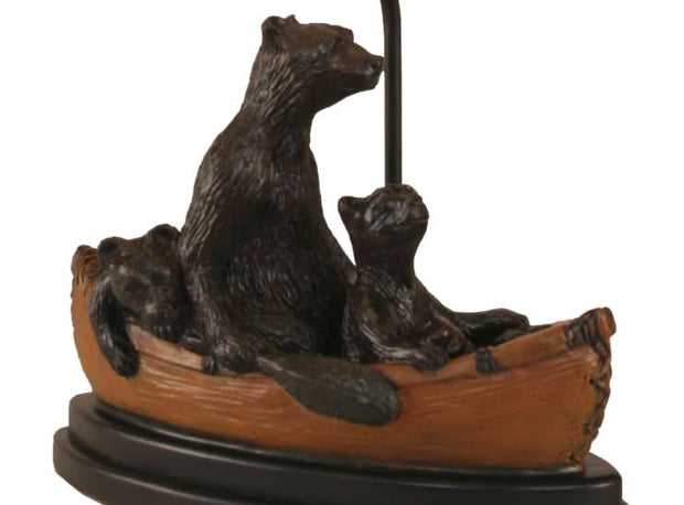 Kodiak Bear Family in Canoe Table Lamp Base Close-up