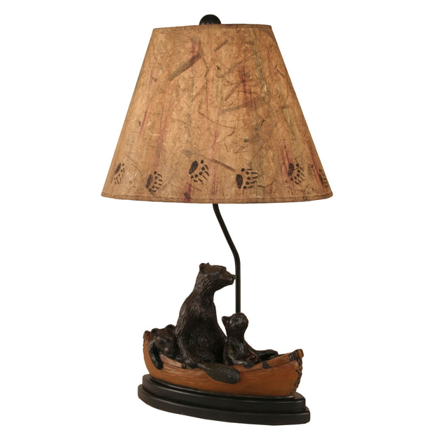 Kodiak Bear Family in Canoe Table Lamp