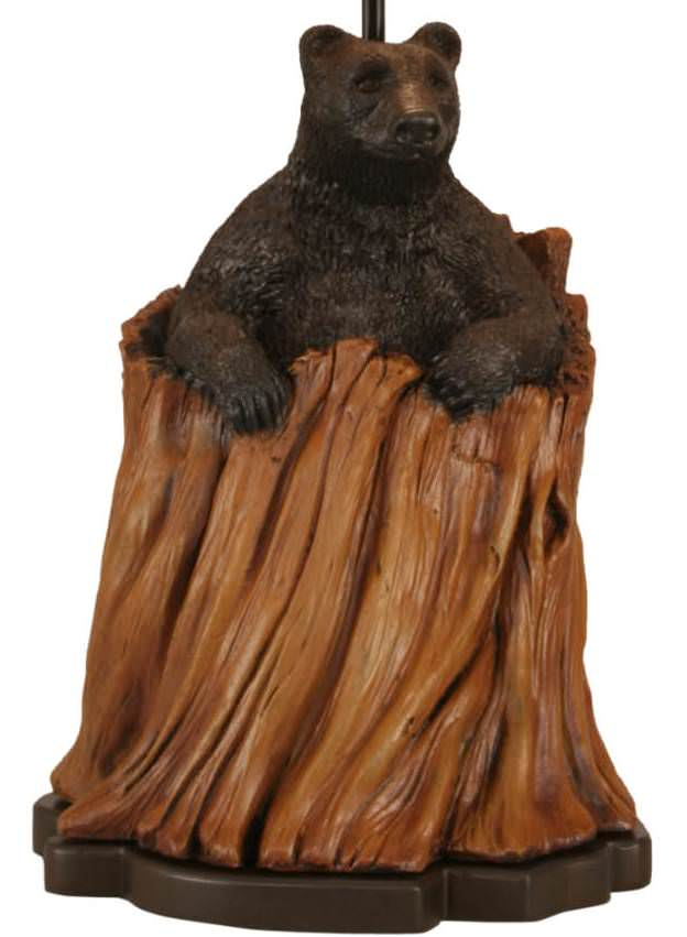 Bear in Stump Table Lamp Base Close-up