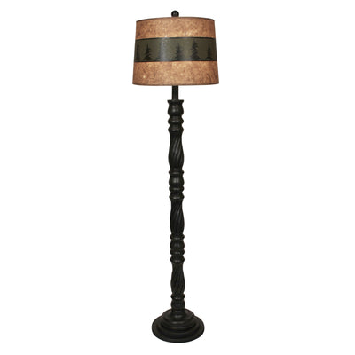 Swirl Floor Lamp with Green Band Pine Tree Shade