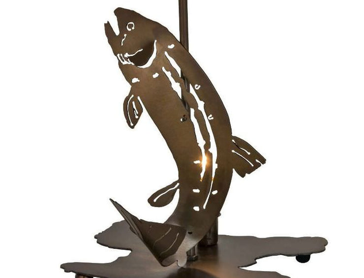 Leaping Trout Table Lamp with Night Light Base Close-up