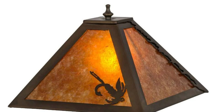 Leaping Trout Table Lamp with Night Light Shade Close-up