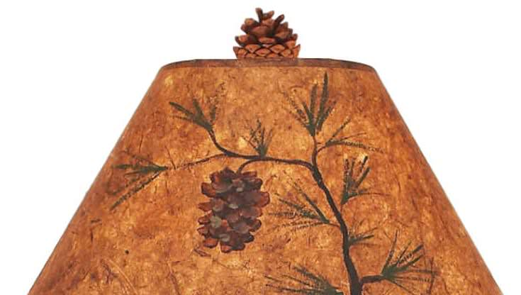 Pine Cone Scene with Night Light Table Lamp hade Close-up