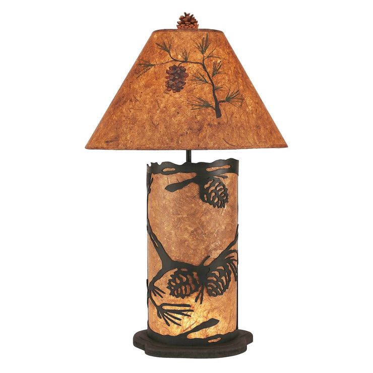 Pine Cone Scene with Night Light Table Lamp - Large