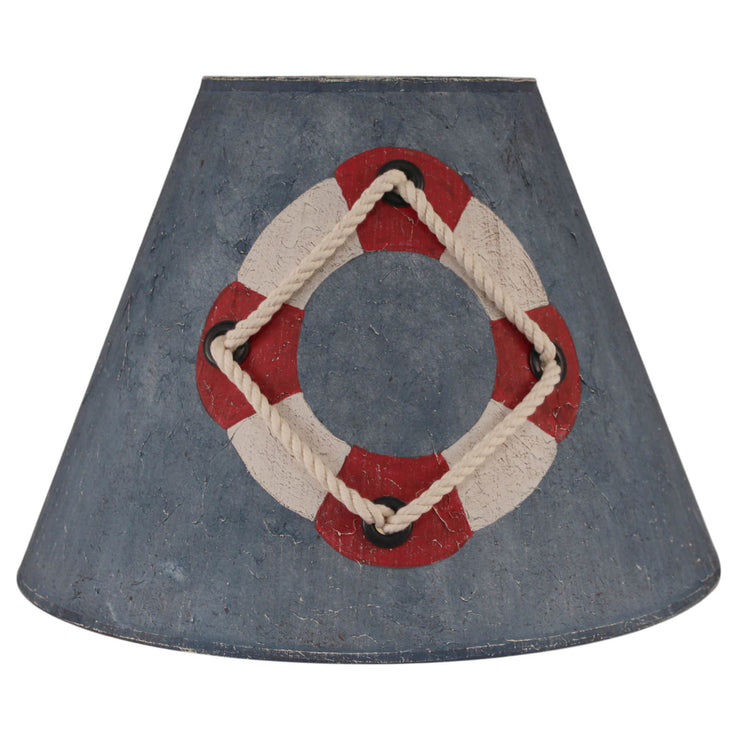 Distressed Blue Wash Life Preserver Lamp Shade