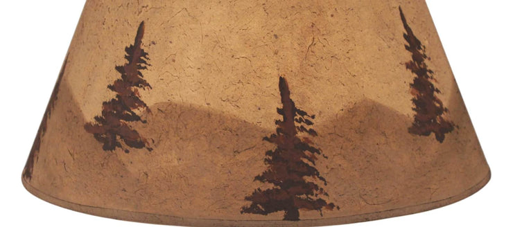 Lodge Watercolor Mountain Scene Lamp Shade Close-up
