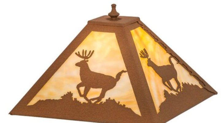 Lone Deer Table Lamp with Night Light Shade Close-up