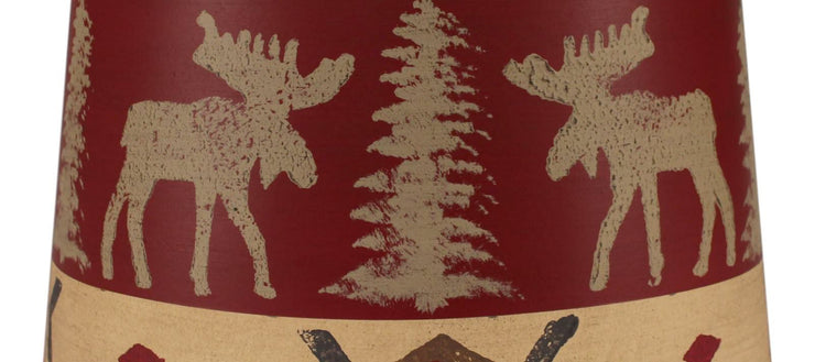 Moose and Pines Drum Lamp Shade Close-up