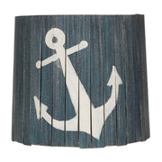 Navy Anchor Wood Panel Lamp Shade