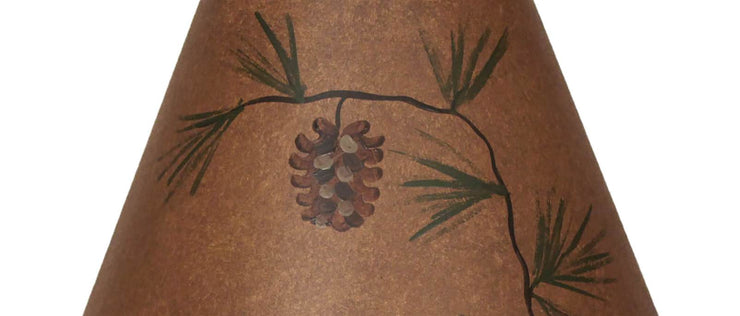 Short Pine Cone Rustic Brown Lamp Shade Close-up