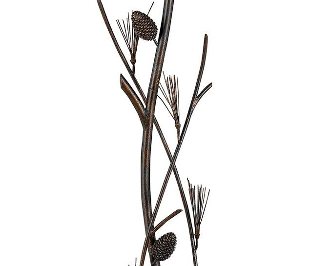 Pine Twig Wrought Iron Floor Lamp Close-up