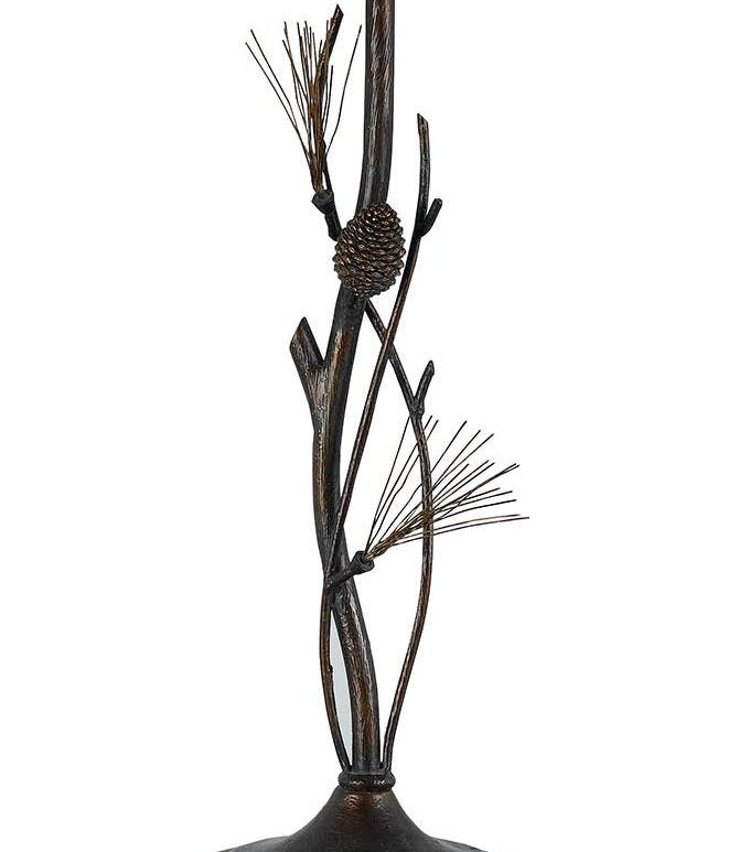 Pine Twig Wrought Iron Table Lamp Base Close-up