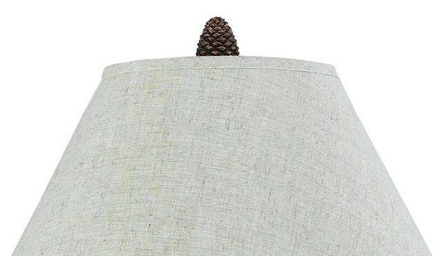Pine Twig Wrought Iron Table Lamp Shade Finial Close-up