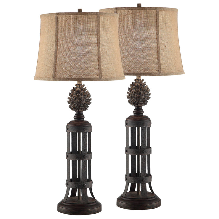 Pinecone Tower Table Lamp Set of 2