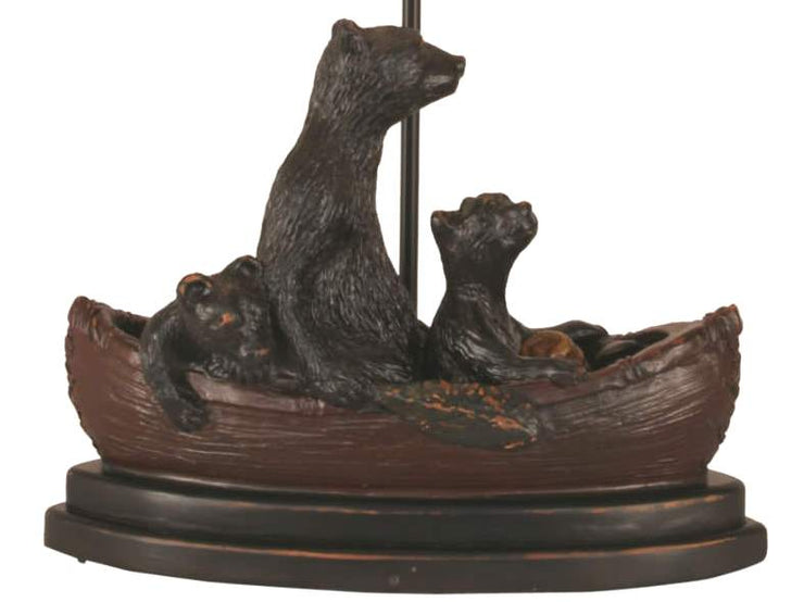 Riverwoods Bear Family in Canoe Table Lamp Base Close-up