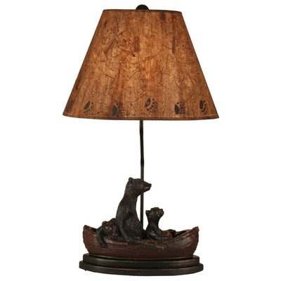 Riverwoods Bear Family in Canoe Table Lamp