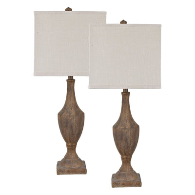 Rustic Finial Table Lamp Set of 2